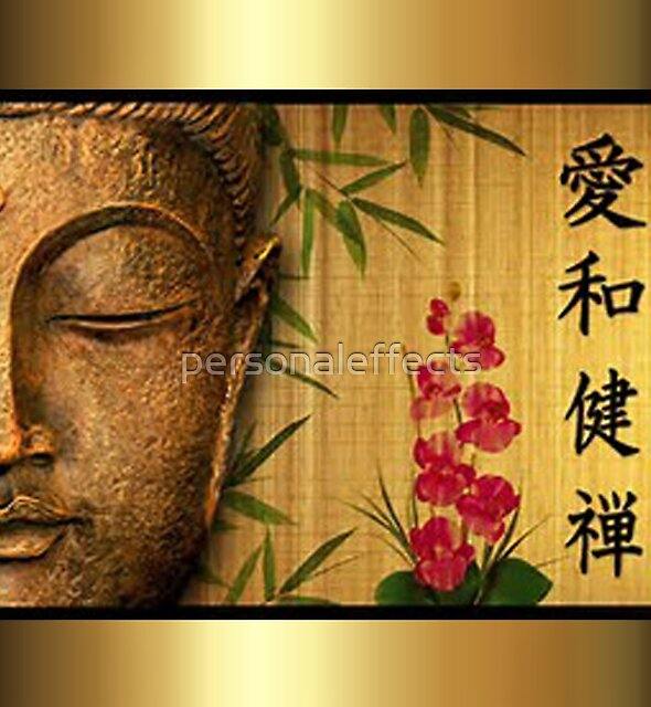 Gold Buddha Green Leaves & Red Flowers by personaleffects