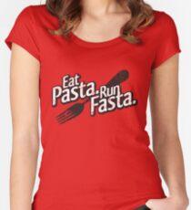 Eat Pasta. Run Fasta. Women's Fitted Scoop T-Shirt