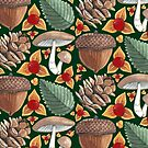 Woodland Yuletide Pattern In Forest Green by Evvie Marin