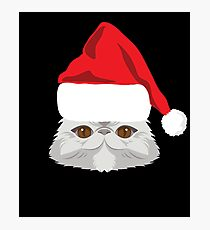 Exotic Shorthair Cat Santa Hat T-Shirt Cat Christmas Gift Photographic Print