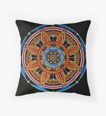 Mandala Dot Painting COLOR OF LIFE by Dutch Artist Tessa Smits Throw Pillow