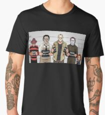 Horror Collage Funny Killer Mugshot Men's Premium T-Shirt