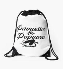 Pirouettes and popcorn Drawstring Bag