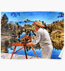 The Painter at the Forest Lake Poster