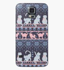 Funda/vinilo para Samsung Galaxy Fair Isle Knitting Cats Love // fondo violeta oscuro gatitos y detalles en blanco y violeta
