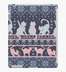 Fair Isle Knitting Cats Love // dark violet background white and violet kitties and details iPad Case/Skin