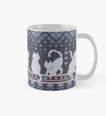 Fair Isle Knitting Cats Love // dark violet background white and violet kitties and details Mug