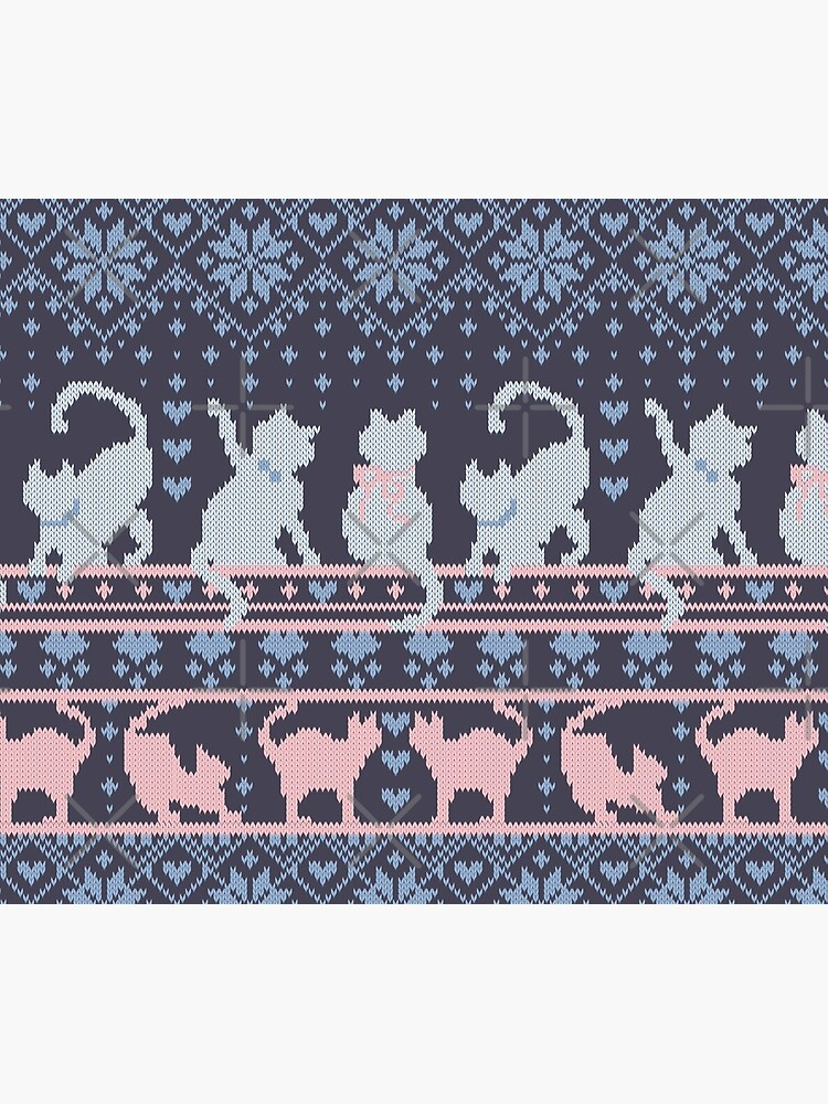 Fair Isle Knitting Cats Love // dark violet background white and violet kitties and details by SelmaCardoso