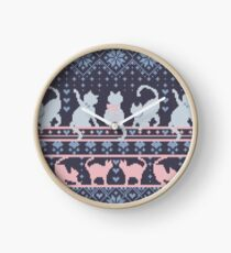 Fair Isle Knitting Cats Love // dark violet background white and violet kitties and details Clock