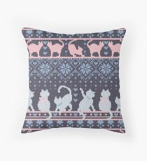 Fair Isle Knitting Cats Love // dark violet background white and violet kitties and details Floor Pillow