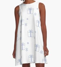 Seamless pattern with gift boxes and snowflakes. A-Line Dress