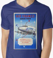 Vintage Travel Poster France - Air France - Zurich to Paris Men's V-Neck T-Shirt