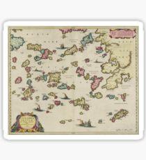 Vintage Aegean Sea Islands Map (1665) Sticker