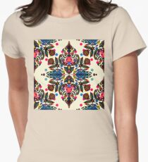 Bright Folk Art Pattern - hot pink, orange, blue & green Womens Fitted T-Shirt