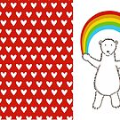 Polar Bear and Rainbow with heart Pattern Hardcover Journal  by helenmccartney