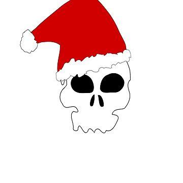 T-Shirt Skull Human Santa Hat Red White Scary Christmas by AbdelaaliKamoun