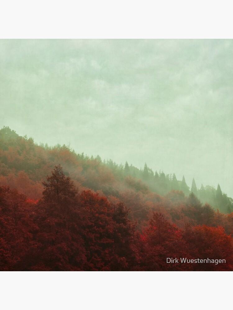 Retro Red Forest in Fog by DyrkWyst