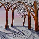 Winter Trees in Delicate Light by lisavonbiela