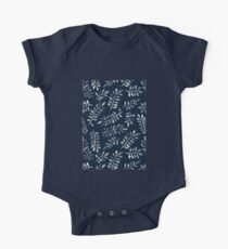 White Leaves on Navy - a hand painted pattern One Piece - Short Sleeve