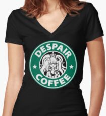 Despair Coffee / Danganronpa Women's Fitted V-Neck T-Shirt