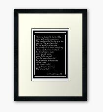 F. Scott Fitzgerald's 'She Was Beautiful'  Framed Print