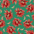 Red Christmas Flowers on Green Botanical Floral Pattern by tanjica