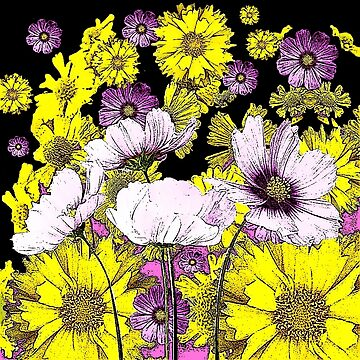 GARDEN FLOWERS IN BLACK-YELLOW-PURPLE DRAWING  by sharlesart