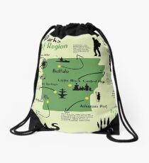 Arkansas National Parks Infographic Map  Drawstring Bag