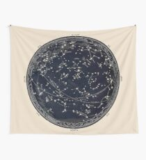 Antique Map of the Night Sky, 19th century astronomy Wall Tapestry