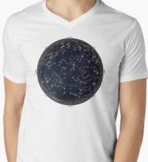 Antike Karte des Nachthimmels, Astronomie des 19. Jahrhunderts T-Shirt mit V-Ausschnitt