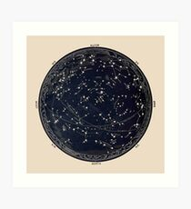Antique Map of the Night Sky, 19th century astronomy Art Print