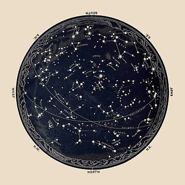 Antique Map of the Night Sky, 19th century astronomy by Glimmersmith