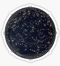 Antike Karte des Nachthimmels, Astronomie des 19. Jahrhunderts Sticker