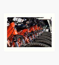 Mountain bikes in row Art Print