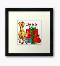 Christmas Giraffes Ho Ho Ho   Framed Print