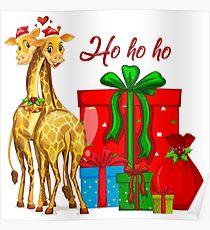 Christmas Giraffes Ho Ho Ho   Poster