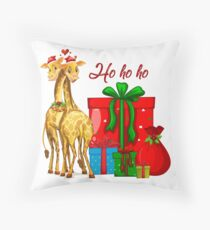 Christmas Giraffes Ho Ho Ho   Floor Pillow