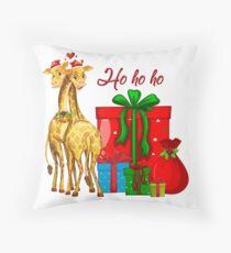 Christmas Giraffes Ho Ho Ho   Throw Pillow