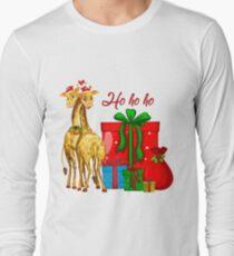 Christmas Giraffes Ho Ho Ho   Long Sleeve T-Shirt