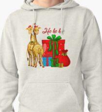 Christmas Giraffes Ho Ho Ho   Pullover Hoodie