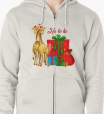 Christmas Giraffes Ho Ho Ho   Zipped Hoodie