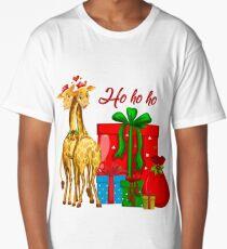Christmas Giraffes Ho Ho Ho   Long T-Shirt