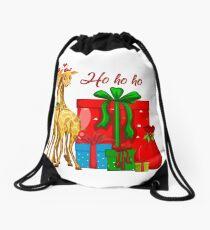 Christmas Giraffes Ho Ho Ho   Drawstring Bag