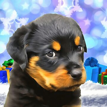 A Rottweiler Puppy for Christmas. (Painting) by cmphotographs