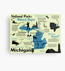 Michigan National Parks Infographic Map  Metal Print