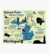 Michigan National Parks Infographic Map  Photographic Print