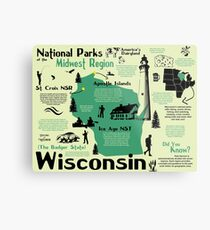 Wisconsin National Parks Infographic Map Metal Print