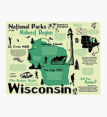 Wisconsin National Parks Infographic Map Photographic Print