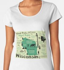 Wisconsin National Parks Infographic Map Women's Premium T-Shirt