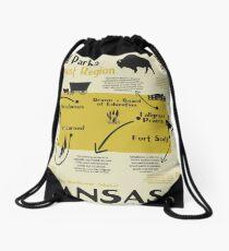 Kansas National Parks Infographic Map Drawstring Bag
